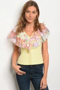 C81-B-4-T3411 YELLOW MESH FLORAL TOP 2-2-2