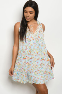 S10-1-4-D3722 BLUE FLOWER DRESS 2-2-2