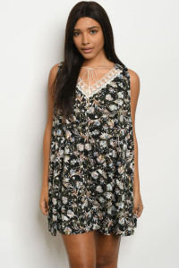 S10-1-4-D3722 BLACK FLOWER DRESS 2-2-2