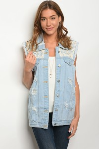 111-4-1-V3506 LIGHT BLUE DENIM VEST 2-2