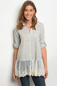 S2-6-2-T3549 BLUE BROWN CHECKERS TOP 2-2-2