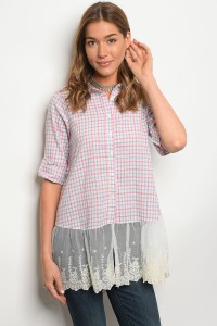 S3-9-4-T3549 BLUE PINK CHECKERS TOP 2-2-2