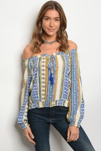 S12-3-4-T3776 BLUE IVORY OFF SHOULDERS TOP 2-2-2