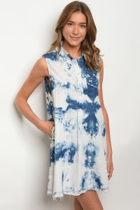 S12-5-3-D6035 BLUE ACID WASH DRESS 2-2-2