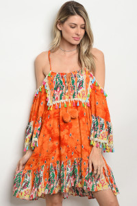 127-2-5-D425 ORANGE MULTI DRESS 2-1-2
