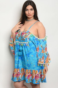 118-3-4-D425X BLUE MULTI PLUS SIZE DRESS 1-3-4