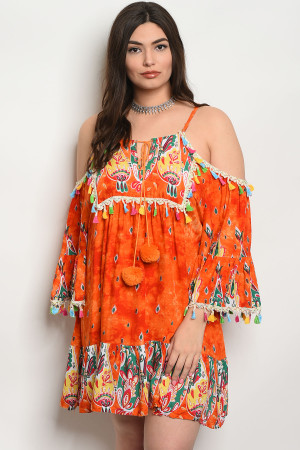 S11-15-1-D425X ORANGE MULTI PLUS SIZE DRESS 2-2-2