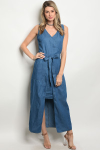 128-2-2-D41718 DENIM BLUE DRESS / 3PCS