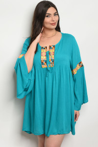 118-3-4-D158X TURQUOISE PLUS SIZE DRESS 2-2-2