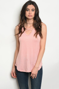 123-3-1-T54371 PEACH WHITE STRIPES TOP 1-2-2-1