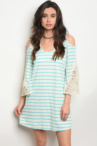 C98-A-1-D9197 IVORY AQUA STRIPES DRESS 1-1-3-1