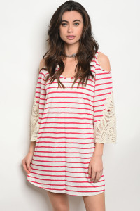 C98-A-1-D9197 IVORY FUCHSIA STRIPES DRESS 2-2