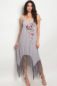 128-3-1-D12128 GRAY WITH FLOWER PRINT DRESS 2-2-1
