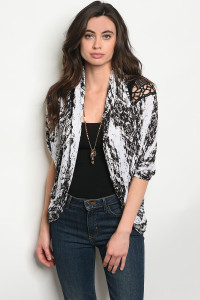 C90-A-1-C9240 BLACK OFF WHITE TIE DYE CARDIGAN 1-1-1
