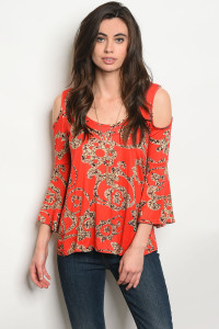 C97-B-5-T1396 ORANGE TAUPE FLORAL TOP 2-2-2
