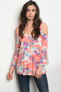 C95-B-6-T1396 CORAL FLORAL TOP 2-2-2