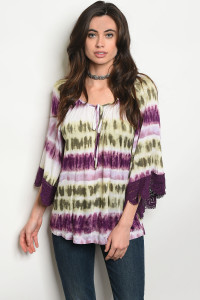 C78-B-1-T9268 IVORY PURPLE TIE DYE TOP 2-1