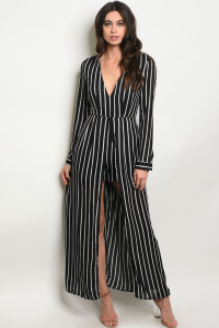 136-4-2-R2256 BLACK WHITE STRIPES ROMPER 3-2-2