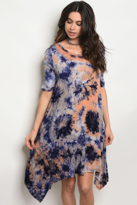 C59-A-3-D8780 NAVY ORANGE TIE DYE DRESS 2-2-2