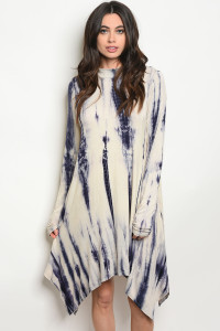 C73-A-4-D8428 NAVY TIE DYE DRESS 2-2-2