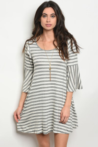 C93-A-2-D9441 GRAY IVORY STRIPES DRESS 2-2-2
