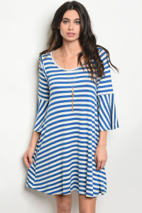 C91-A-3-D9441 IVORY BLUE STRIPES DRESS 2-2-2