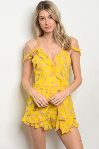 136-1-3-R8663 YELLOW FEATHER PRINT ROMPER 2-2-2