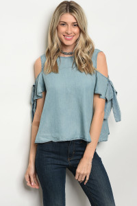 S9-18-5-T12101 LIGHT BLUE DENIM TOP 3-2-1