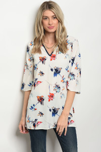 C37-A-2-T9736 OFF WHITE FLORAL TOP 2-2-2