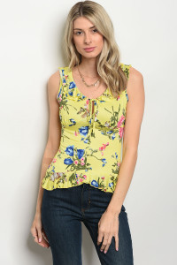 C37-B-3-T2879 YELLOW FLORAL TOP 2-2-2