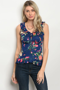 C35-B-6-T2879 NAVY FLORAL TOP 2-2-2