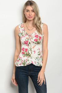 C35-B-6-T2879 IVORY FLORAL TOP 2-2-2