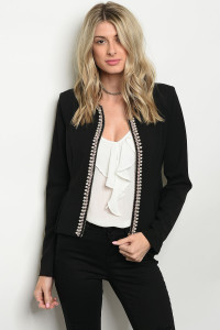 S5-3-4-J504202 BLACK WITH PEARLS JACKET 2-2-2