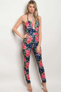 SA3-5-4-J186131 NAVY WITH ROSES PRINT JUMPSUIT 2-2-2