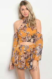 128-3-2-R18545 YELLOW FLORAL ROMPER 2-3