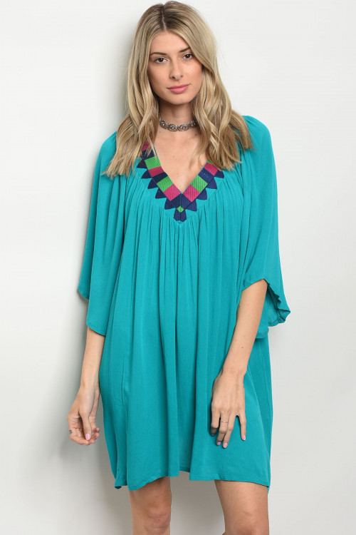 105-1-2-D111 TURQUOISE DRESS 2-3-2