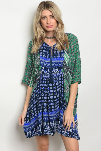 SA3-4-2-D142 BLUE GREEN DRESS 2-2-2