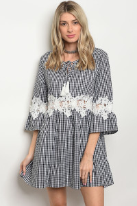 105-1-2-D568 BLACK CHECKERED DRESS 3-1-3