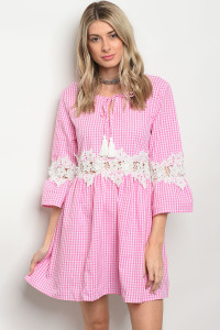 105-1-2-D568 PINK CHECKERED DRESS 2-1-3