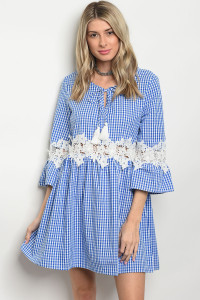 SA3-4-3-D568 BLUE CHECKERED DRESS 2-2-2