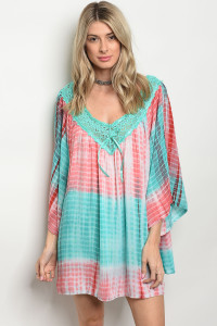 133-3-2-D496 MINT CORAL TIE DYE DRESS 2-2-2