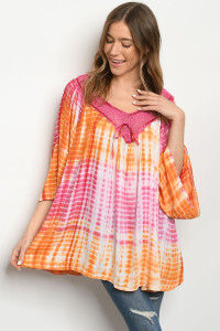 SA3-4-3-D496 CORAL ORANGE TIE DYE DRESS 2-2-2