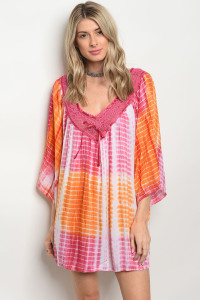 105-1-2-D496 CORAL ORANGE TIE DYE DRESS 2-2
