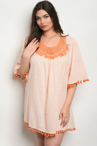 SA3-4-3-D530X ORANGE PLUS SIZE DRESS 2-2-2