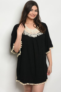 105-1-2-D530X BLACK PLUS SIZE DRESS 1-2-2