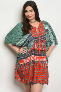 SA3-4-4-D142X ORANGE GREEN PLUS SIZE DRESS 2-2-2