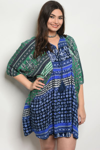 105-1-2-D142X BLUE GREEN PLUS SIZE DRESS 3-2-2