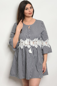 105-1-2-D568X BLACK CHECKERED PLUS SIZE DRESS 3-2-2