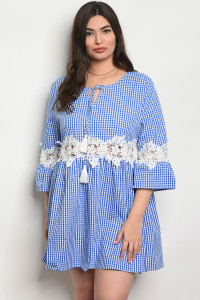 SA3-4-5-D568X BLUE CHECKERED PLUS SIZE DRESS 2-2-2