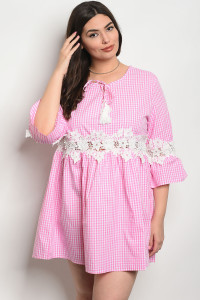 108-1-2-D568X PINK CHECKERED PLUS SIZE DRESS 2-2-1